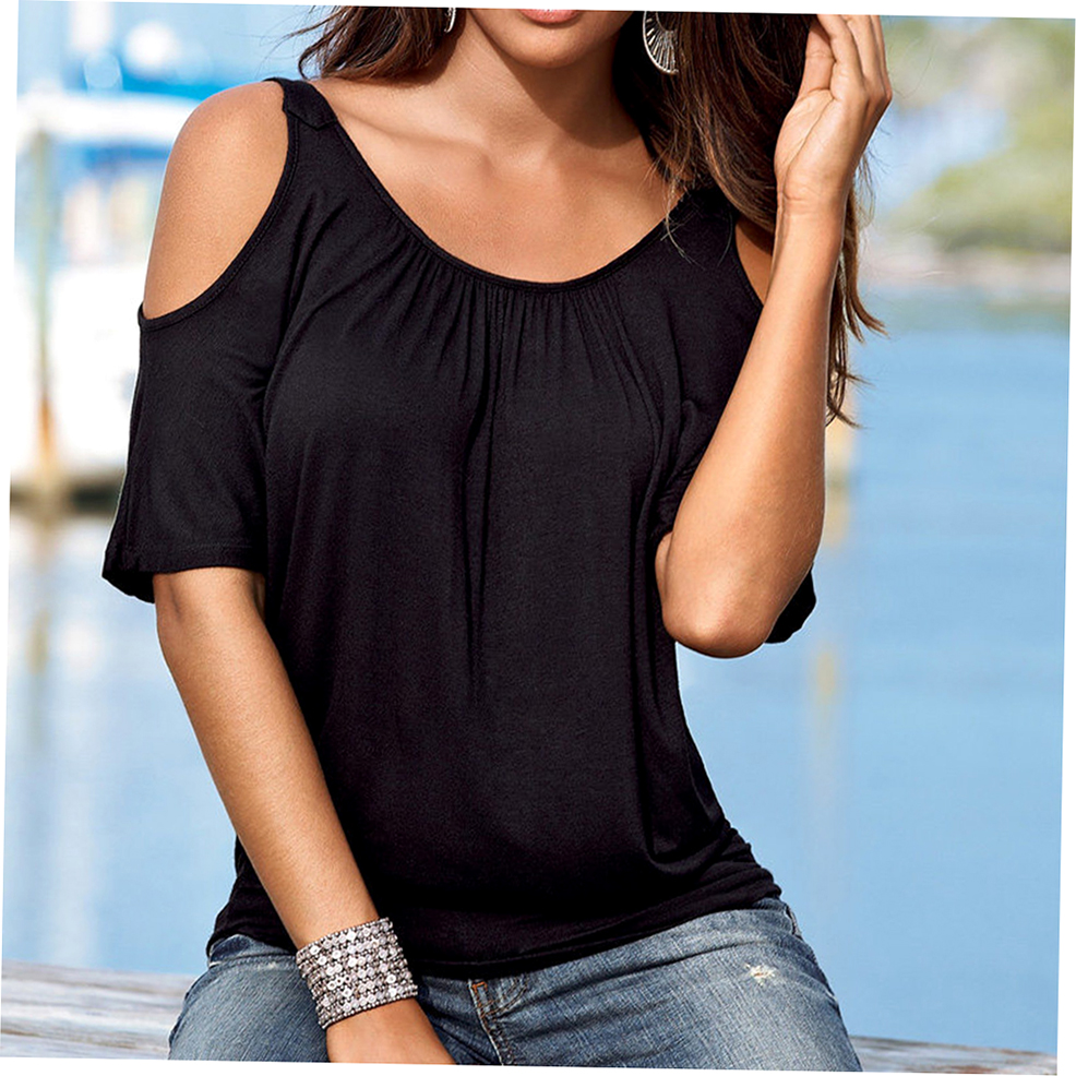 Fashion Casual Loose Round Neck Shoulder Hole Point Blouse