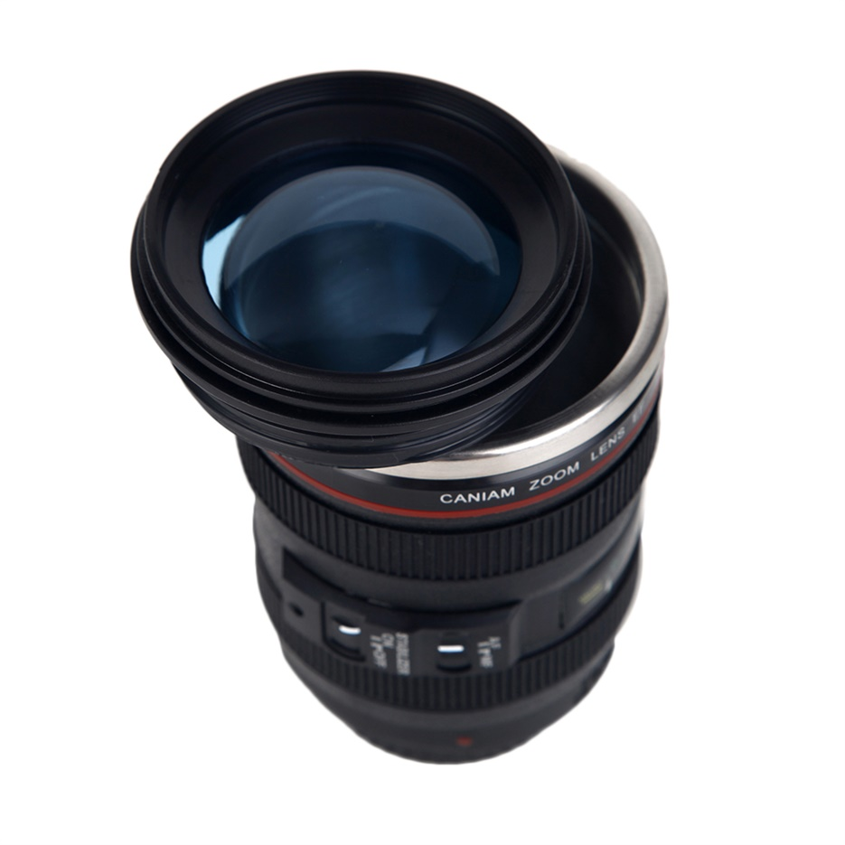 Camera lens shape cup coffee tea travel mug stainless for Photo lens coffee cup