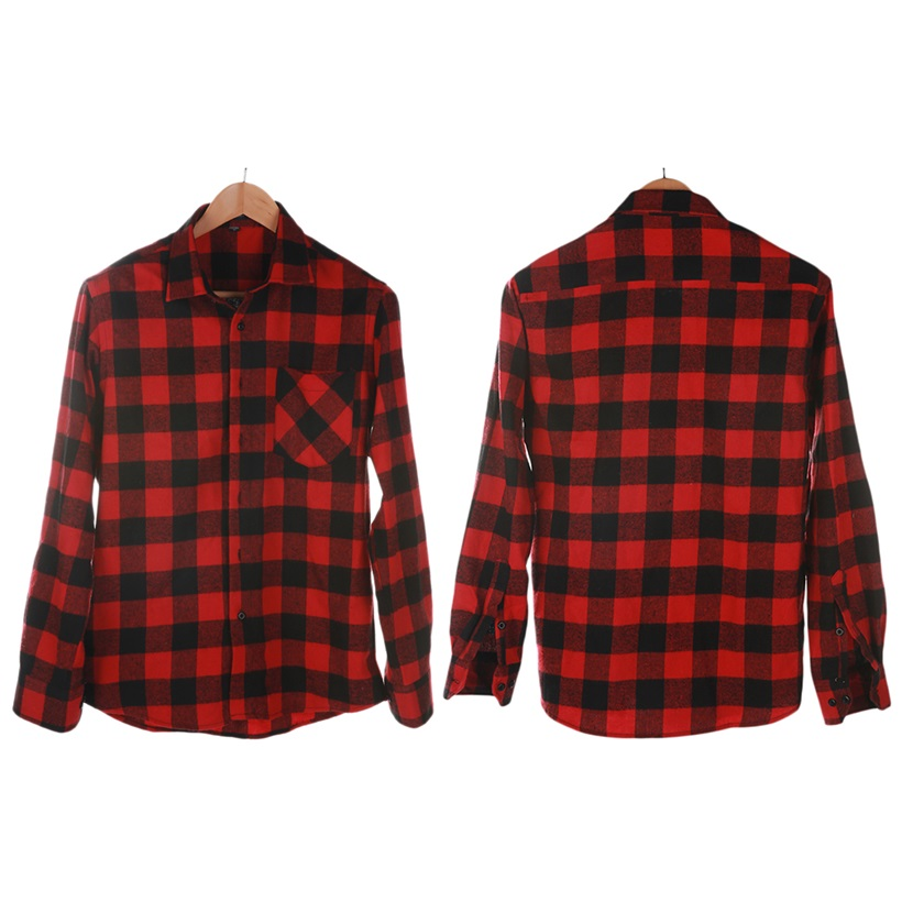 Fashion Mens Button Plaid Shirt Long Sleeve Flannel Plaid