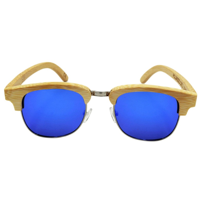 Half Frame Wood Glasses : Fashion Handmade Bamboo Wood Oval Sunglasses Polarized ...