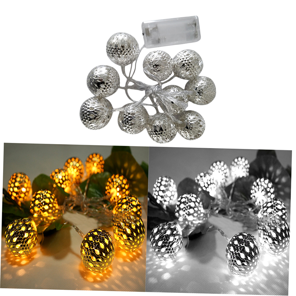 Metal Ball String Lights : 10 LED Metal Ball String Fairy Light Garden Xmas Party Decor Battery Operated HY eBay