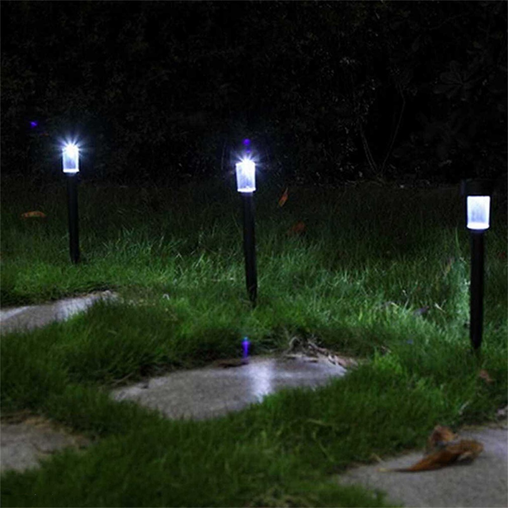 Set Of 4 White Solar Lights Yard Stakes Garden Lawn
