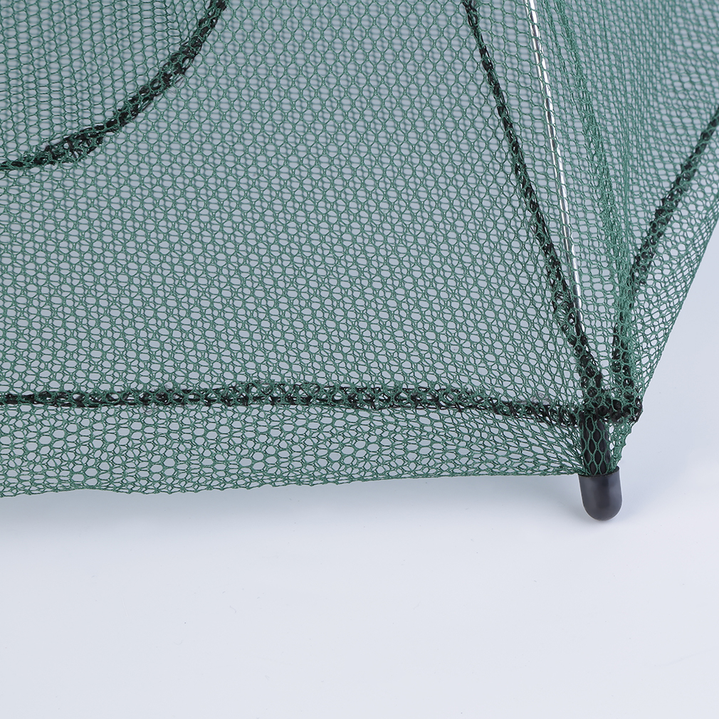 Oh foldable fishing bait net trap cast dip cage crab fish for Fish trap net
