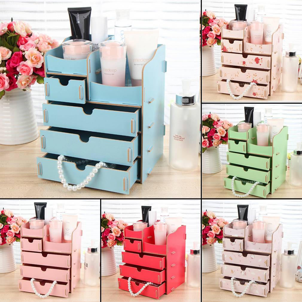 wooden make up box organiser cosmetic display case diy dressing table box bs ebay. Black Bedroom Furniture Sets. Home Design Ideas