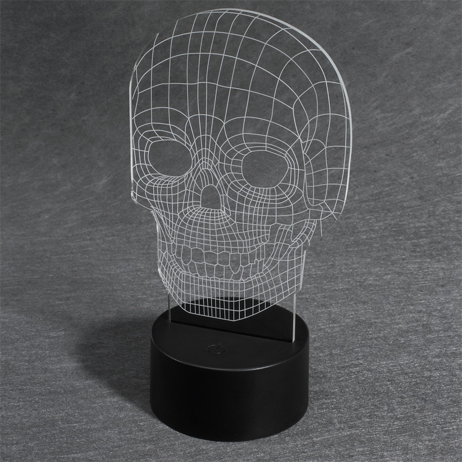 Skull Bedroom Decor Acrylic 3d Skull Illusion Lamp Led Night Light Table Desk Lamp