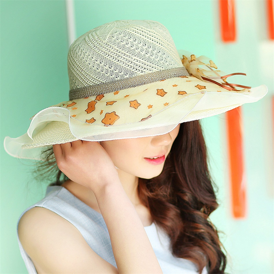 fashion women summer hat stars and pearls beach hat large. Black Bedroom Furniture Sets. Home Design Ideas