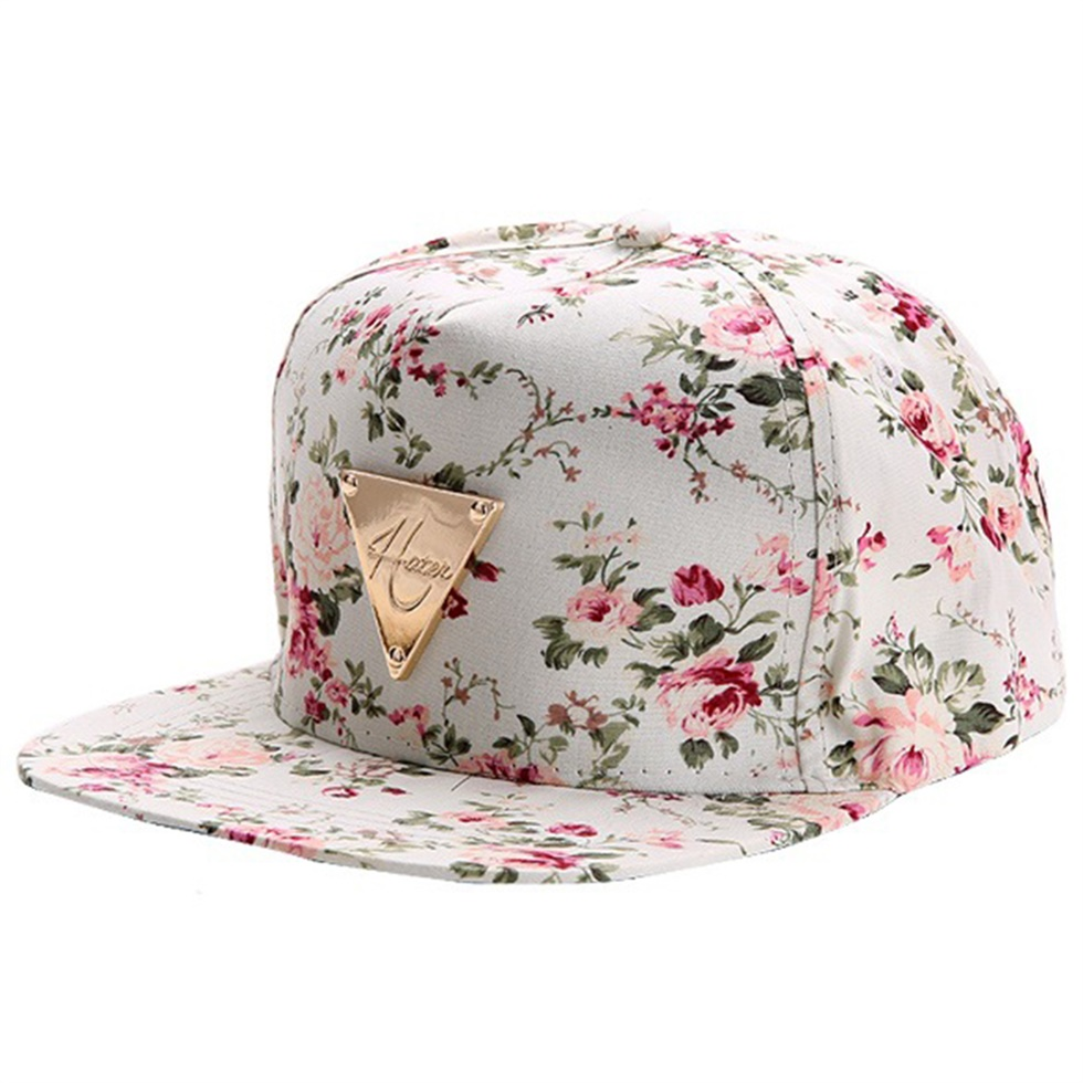 floral flower snapback hip hop hat flat adjustable