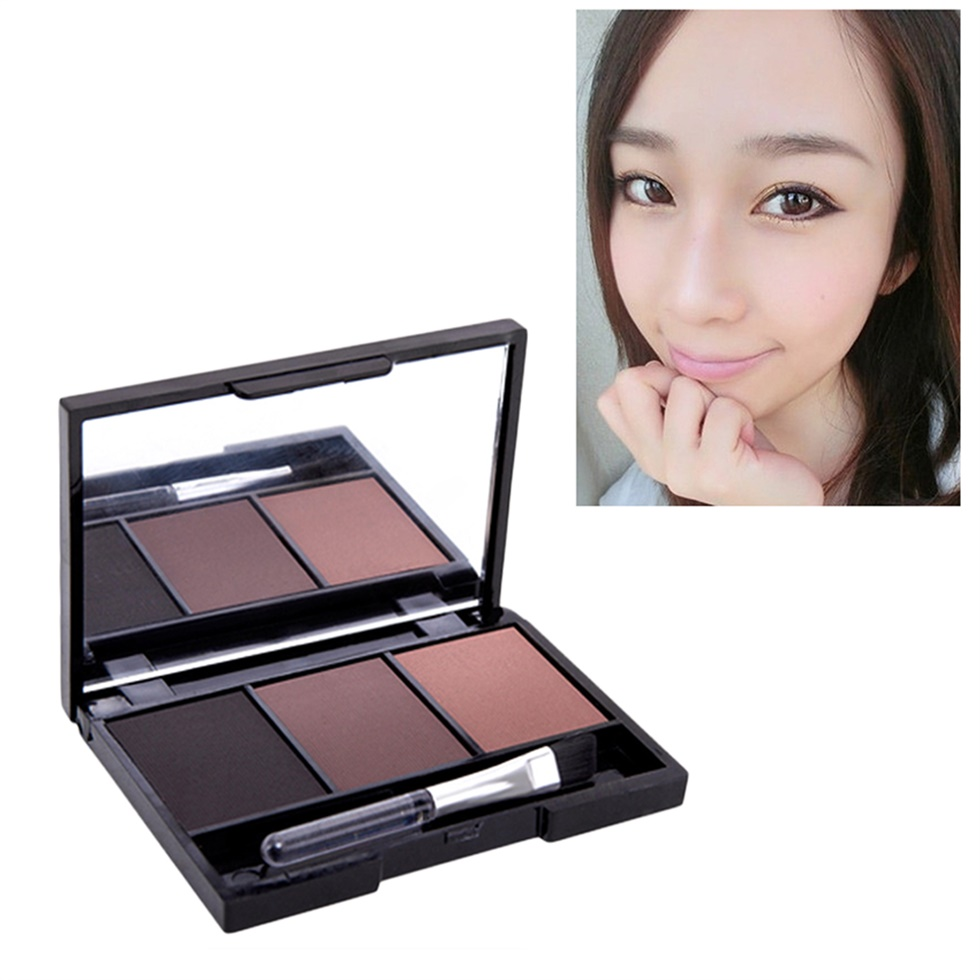 3 color eyebrow powder palette cosmetic makeup shading brush mirror box brow bn. Black Bedroom Furniture Sets. Home Design Ideas