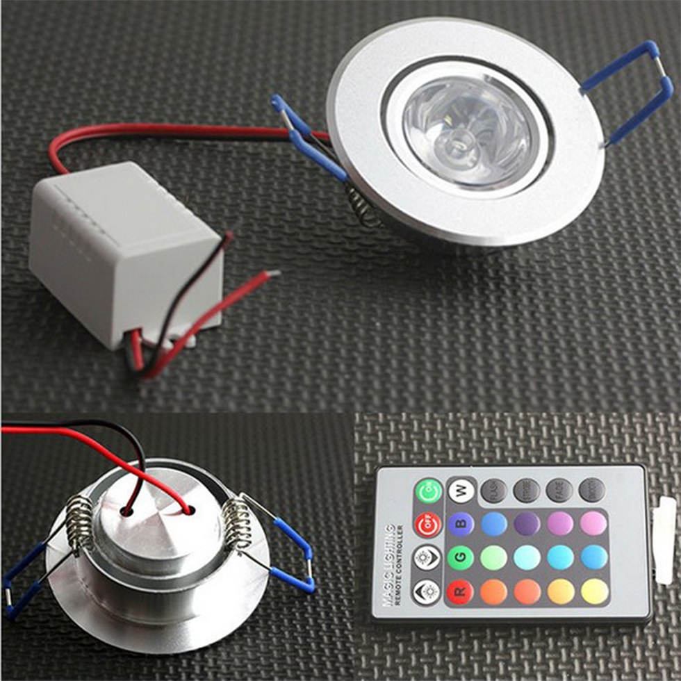 3w rgb led recessed ceiling light spotlight downlight lamp remote controlng ebay. Black Bedroom Furniture Sets. Home Design Ideas