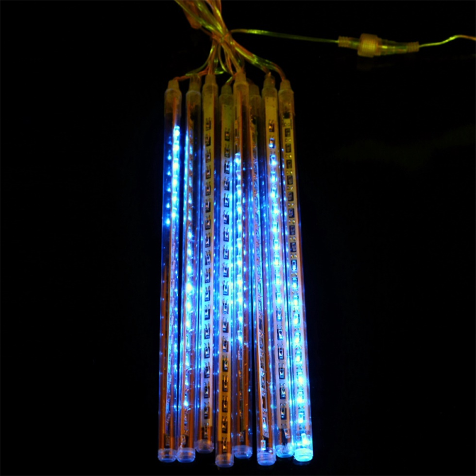 led meteor shower rain light waterproof tubes string for