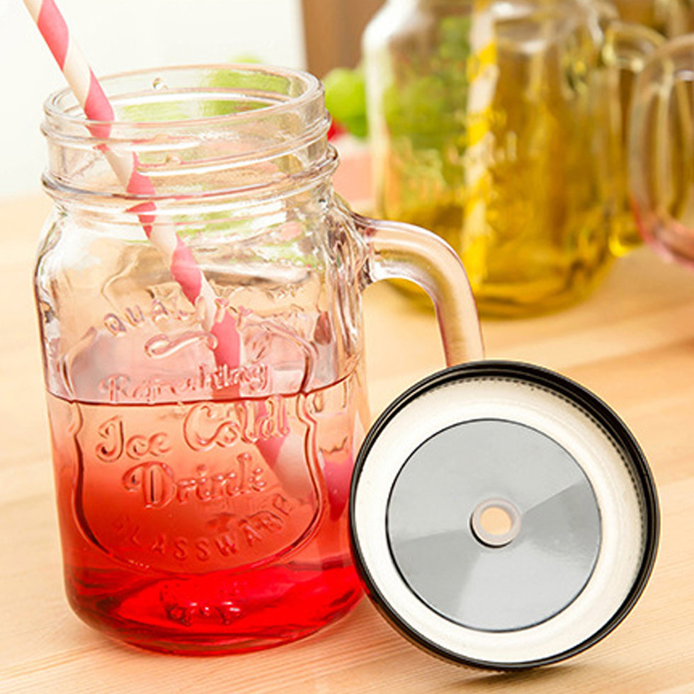 vintage drinking mason jar with handle lid straw party