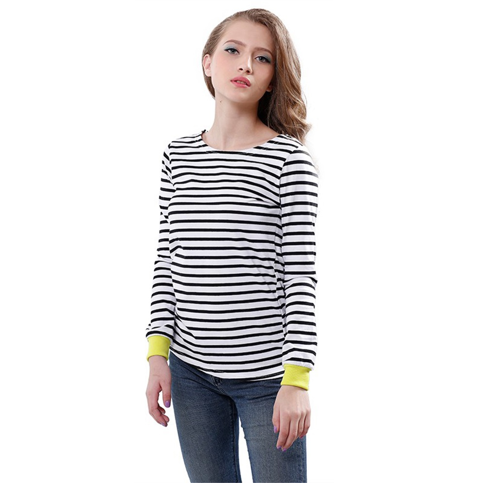 New women top or neck t shirt long sleeve blue and white for Blue and white long sleeve shirt