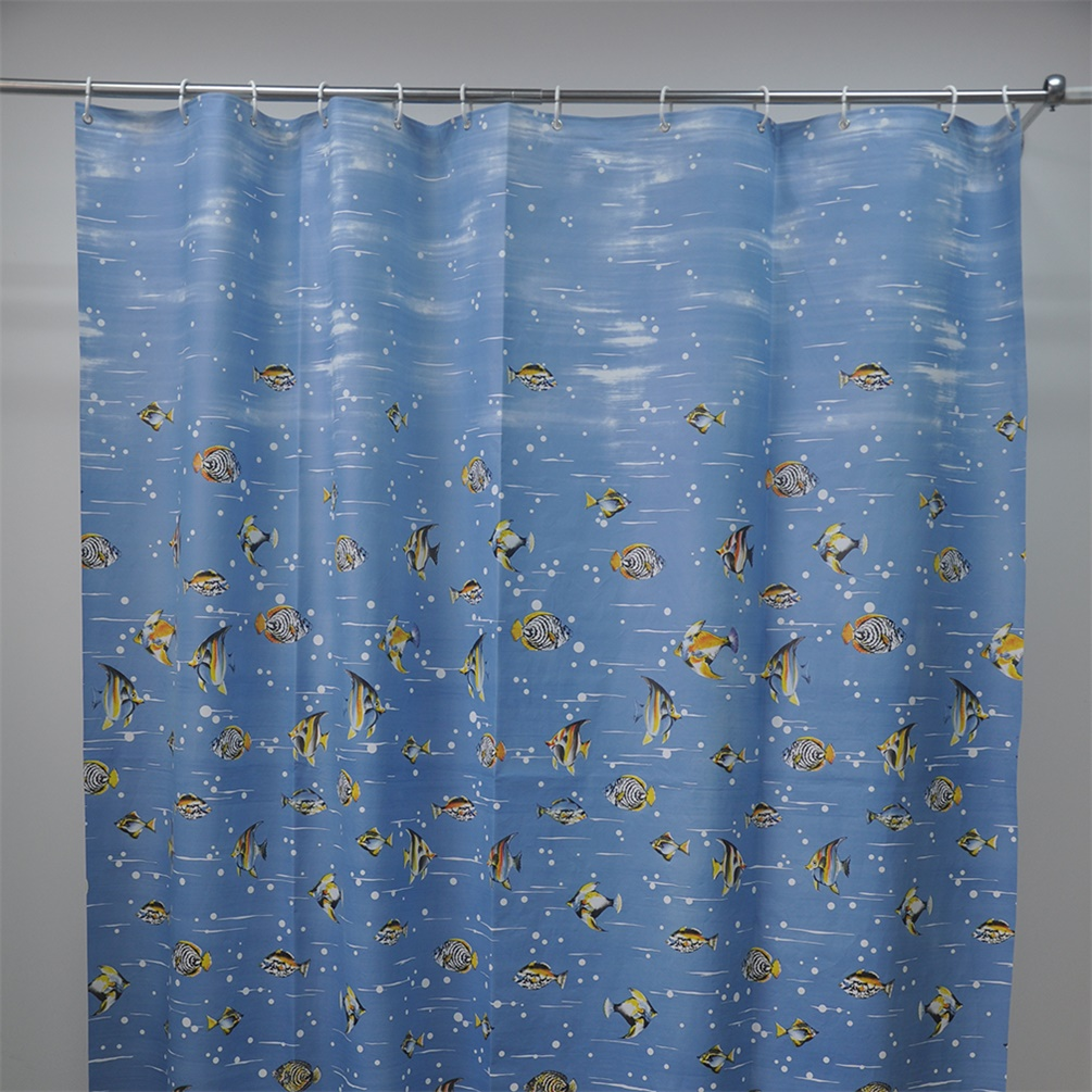 Beautiful tropical fish shower curtain extra long wide or for Tropical fish shower curtain