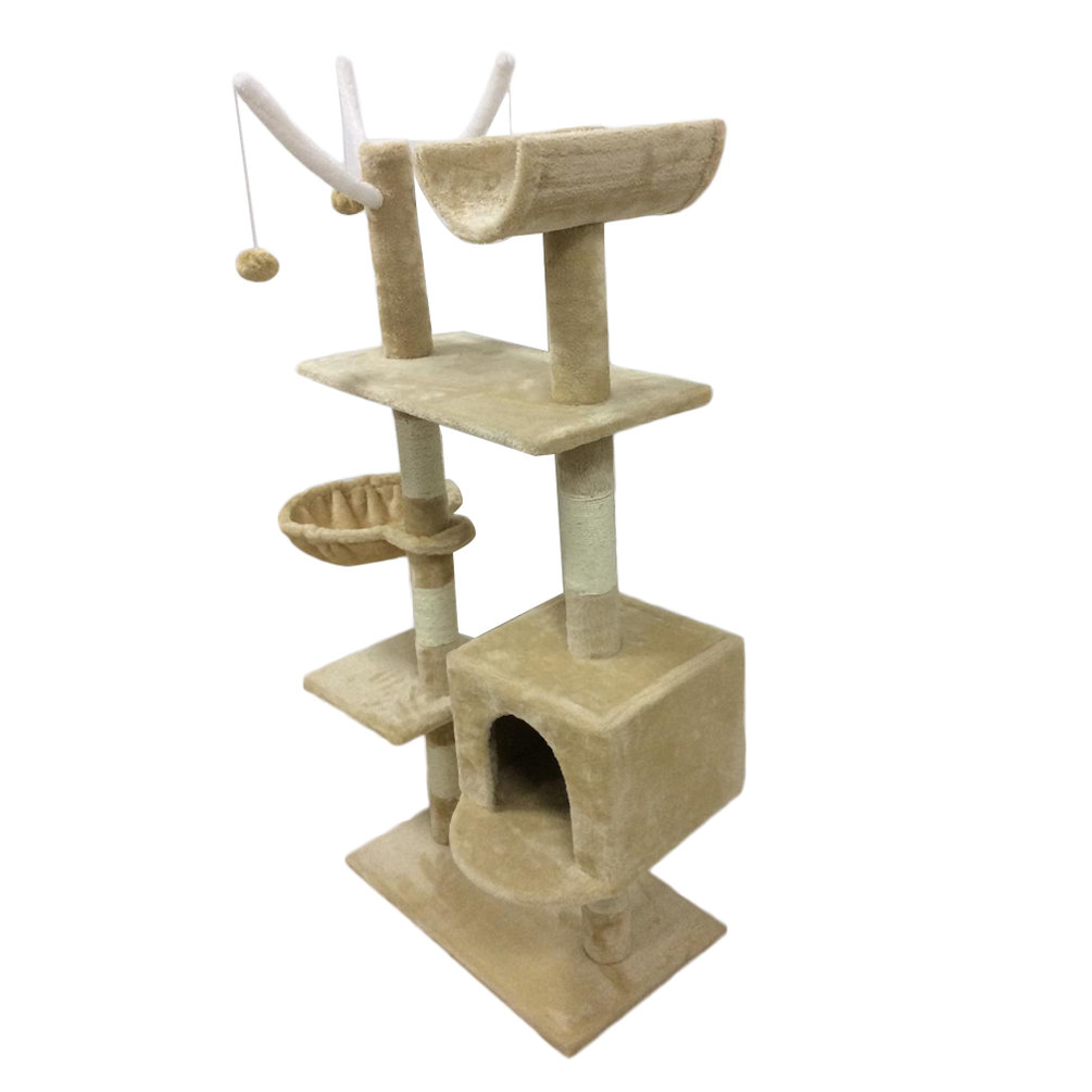 Furniture for pets kitten house hammock cat tree tower for Cat tower with hammock