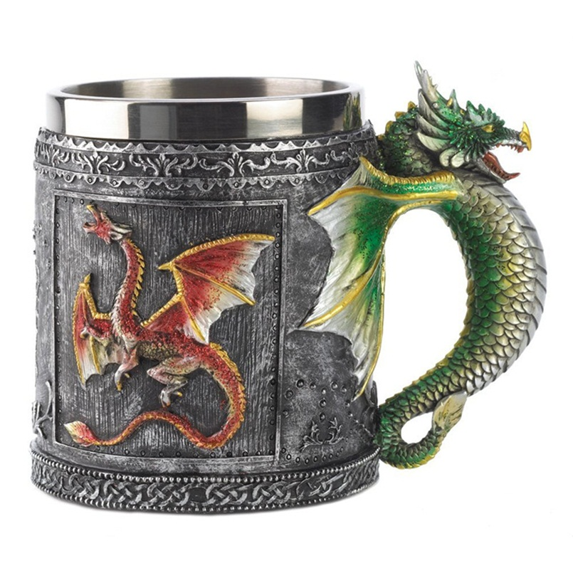 vintage resin and stainless steel drinking mug 3d flying